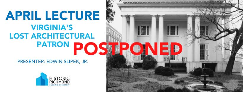 April Lecture Postponed